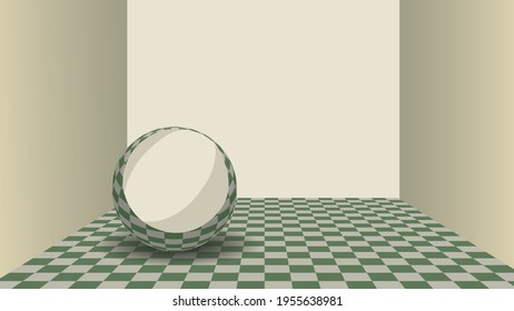 A glossy sphere inside a empty room with checkered floor. Vector illustration