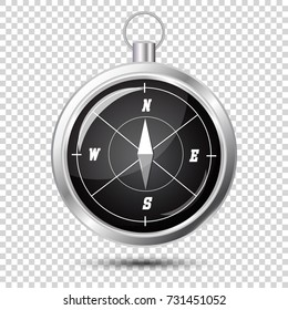 Glossy Stylish Compass with windrose. Vector Illustration on transparent background with soft shadow