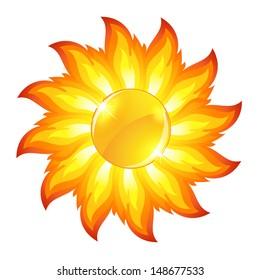 Glossy sun button