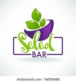 glossy symbol healthy cooking logo and  organic food symbols for your salad bar or vegan menu
