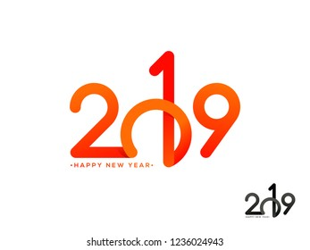 Glossy text 2019 on white background can be used as Happy New Year greeting card design.