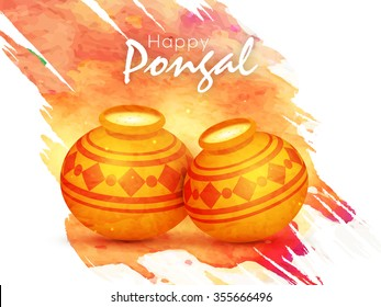 Glossy traditional mud pots full of rice on color splash background for South Indian Harvesting Festival, Happy Pongal celebration.