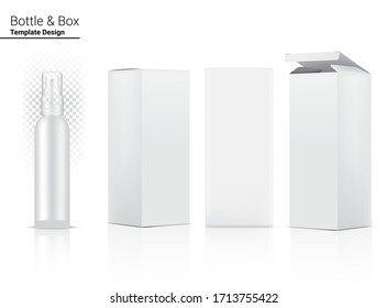 Glossy Transparent Spray Bottle Mock up Realistic Cosmetic and 3 Dimensional Box for Whitening Skincare and Aging anti-wrinkle merchandise on White Background Illustration. Health Care and Medical.