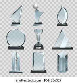 Glossy transparent trophies, awards and winner cups. Vector illustration. Achievement glass for winner championship, acrylic trophy sport