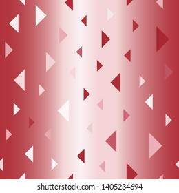 Glossy triangle pattern. Seamless vector background - red, rose and pink triangles on gradient backdrop