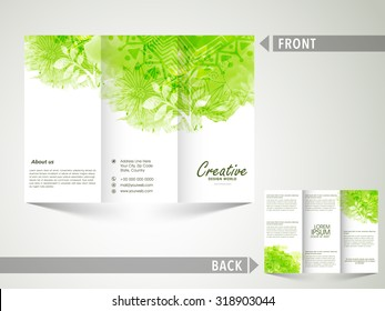 Glossy Trifold Brochure, Template or Flyer decorated with beautiful floral design for Nature concept.
