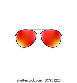 Glossy vector aviator sunglasses holiday summer vacation design