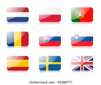 Glossy vector flags. Set three of flags from European union (Netherlands, Poland, Portugal, Romania, Slovakia, Slovenia, Spain, Sweden, United Kingdom)