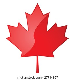 Glossy vector illustration of a red maple leaf, symbol of Canada