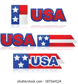 Glossy vector illustration set with different United States badges
