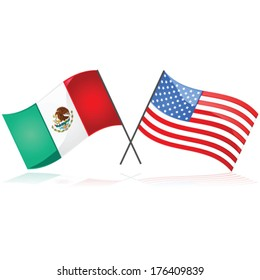 Glossy vector illustration showing the flag of Mexico beside the flag of the United States of America