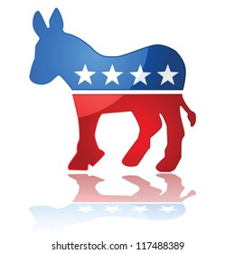 Glossy vector illustration showing the iconic United States Democrat Party symbol, a donkey with the colors of the American flag.