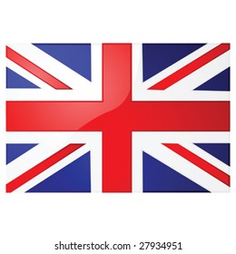 Glossy vector illustration of the Union Jack, the British flag