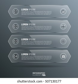 Glossy Vertical Hexagon Infographics