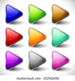 Glossy, vibrant play buttons, music or video player control / navigation buttons for multimedia, playback concepts. Or arrows, arrowheads pointing right for generic use.