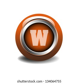 Glossy web alphabet button with the letter W