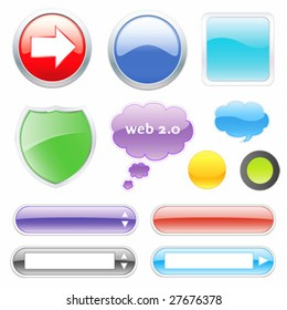 Glossy web elements. Buttons, dialog, icon.  For other similar images from the series, please, check my portfolio.