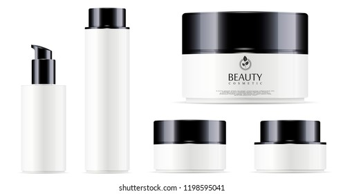 Glossy white cosmetic bottle for facial toner, hair shampoo or shower gel and round white plastic jar with black lid for cosmetics - body cream, butter, powder. EPS10 Vector. Cosmetics packaging.