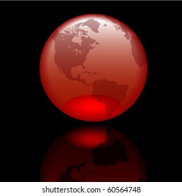 Glossy world globe