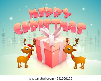 Glossy wrapped gift with pink ribbon and cute reindeers on fir trees decorated background for Merry Christmas celebration.