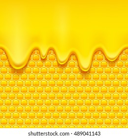Glossy yellow pattern with honeycomb and sweet honey drips. Sweet background. Seamless horizontal pattern. Honey vector.