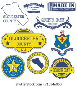 Gloucester county, New Jersey. Set of generic stamps and signs