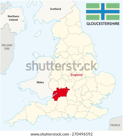 Map Of England Gloucestershire.Gloucestershire County Map Flag Stock Vector Royalty Free