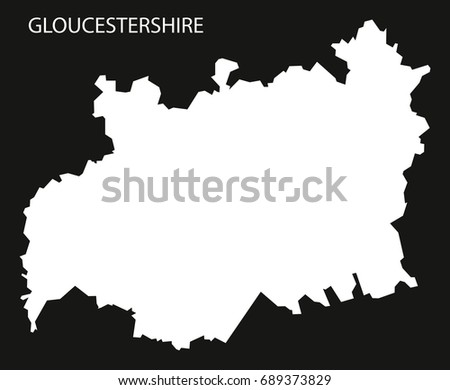 Map Of England Gloucestershire.Gloucestershire England Uk Map Black Inverted Stock Vector Royalty