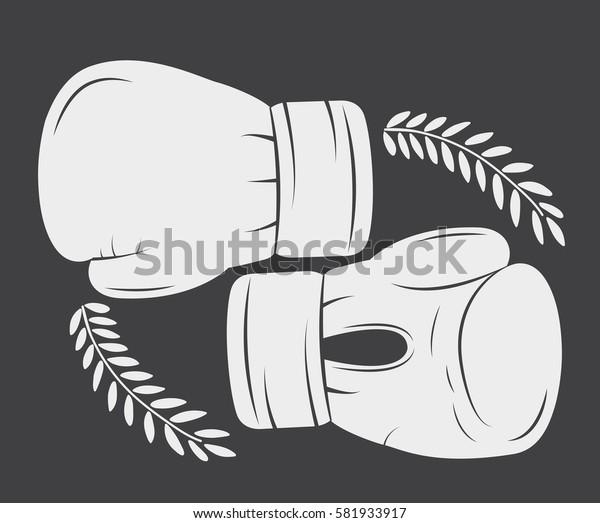 glove boxing sport training icon. black white and flat design. Vector illustration