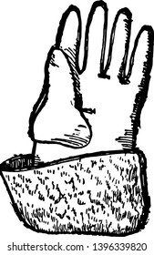 Glove of Henry VI, it's a Leatherworking and Miscellaneous Crafts, celebrated for having united England and subjugated France, vintage line drawing or engraving illustration.