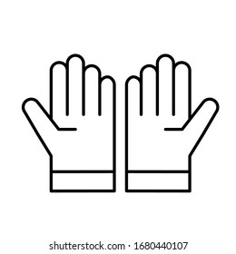 Glove icon vector in outline style design