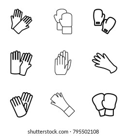 Glove icons. set of 9 editable outline glove icons such as glove, gloves