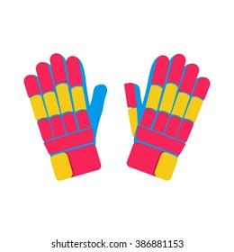 Gloves cricket illustration on white background.