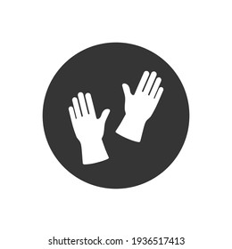 Gloves flat style white icon design, Cleaning service wash home hygiene equipment domestic interior housework and housekeeping theme Vector illustration