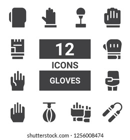 gloves icon set. Collection of 12 filled gloves icons included Nunchaku, Gloves, Punching ball, Boxing, Boxing gloves, Glove
