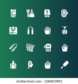gloves icon set. Collection of 16 filled gloves icons included Duster, Gloves, Glove, Dustpan, Nunchaku, Punching ball, Coat, Boxing