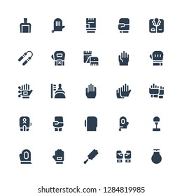 gloves icon set. Collection of 25 filled gloves icons included Punching ball, Boxing gloves, Duster, Glove, Gloves, Boxing, Dustpan, Wired Scarf, Nunchaku, Coat