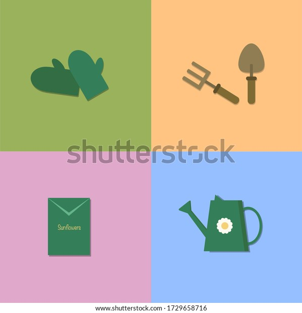 Gloves Seeds Trowel Watering Can Set Stock Vector Royalty Free 1729658716