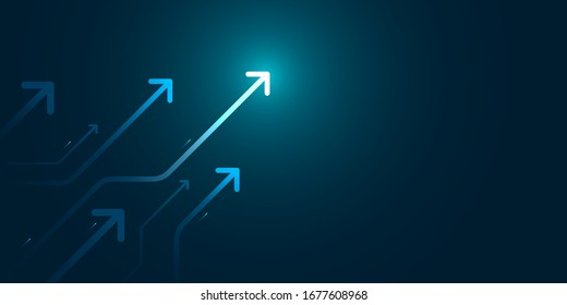 Glow up arrows circuit on dark blue background copy space digital business growth concept