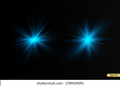 Glow blue light effect set, lens flare, explosion, glitter, line, sun flash, spark and stars. Abstract special effect element design.