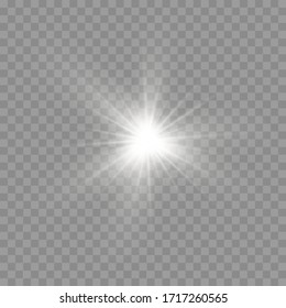 Glow bright star, the star burst with brilliance, white glowing light burst on a transparent background, white sun rays, light effect, flare of sunshine with rays, vector illustration, eps 10