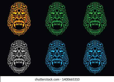 glow color monkey head in set from abstract pattern