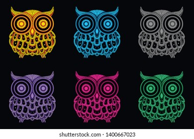glow color owl from abstract pattern