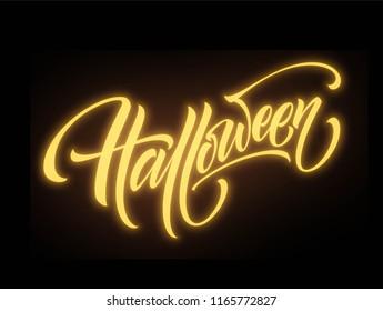 Glow in the dark background Happy halloween lettering. Vector illustration EPS10