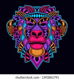 glow in the dark monkey from abstract pattern