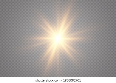 Glow effect. Gold star on a transparent background. Bright sun. Vector illustration.