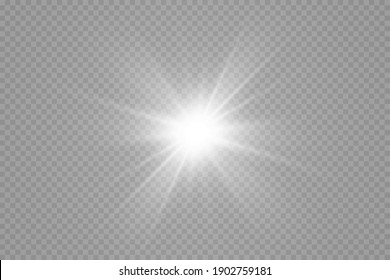 Glow effect. Star sparkles on a transparent background. Vector illustration. the sun