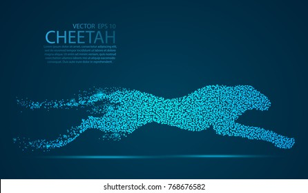 Glow glitter Cheetah point scales on dark background with dots color blue effects. Wire frame 3D mesh spot light network, design sphere, dot and structure. Vector illustration eps 10.