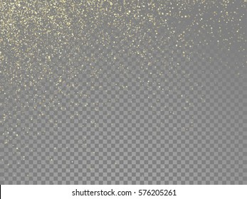 Glow gold particles and star dust shimmer on vector transparent background