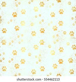 Glow gold Paw print seamless pattern. Seamless pattern of animal gold footprints. Dog paw print seamless pattern on gold background